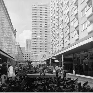 Klomby w Pasażu Śródmiejskim, z lewej saturator, dalej kino Relax i punktowce Ściany Wschodniej (1974r.) Grażyna Rutkowska / NAC
