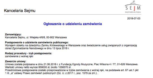 Ogłoszenie o udzieleniu zamówienia na wynajem obiektu oraz świadczenie usług związanych z organizacją obrad ZN Kancelaria Sejmu