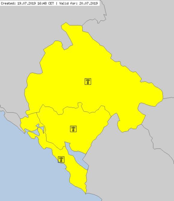 Ostrzeżenia meteorologiczne w Czarnogórze (meteoalarm.eu)
