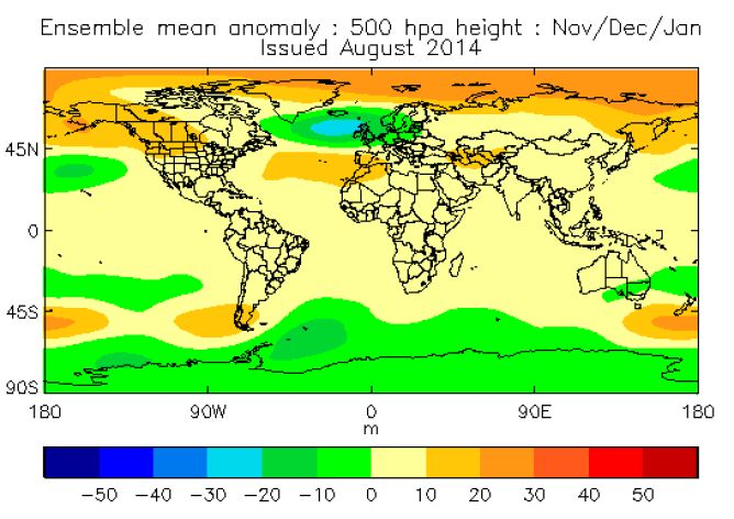 Prognoza meteorologów z MetOffice, na której wyraźnie zaznacza się rozbudowany wyż azorski i pogłębiony niż islandzki