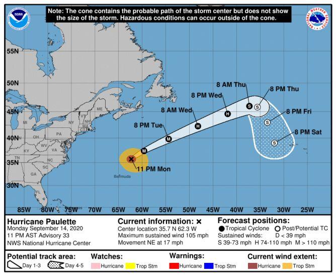 Prognozowana trasa huraganu Paulette (NHC)