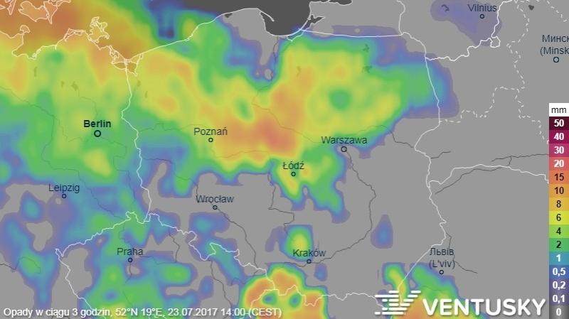 Prognoza opadów na niedzielę (godz.14)