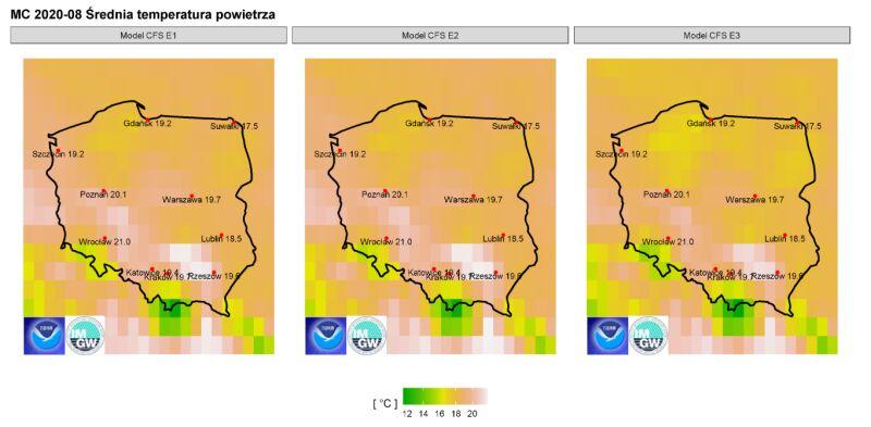 Prognozowana średnia temperatura powietrza dla wybranych miast w sierpniu 2020 r. według modelu IMGW-PIB na tle prognozCFS2 (IMGW)