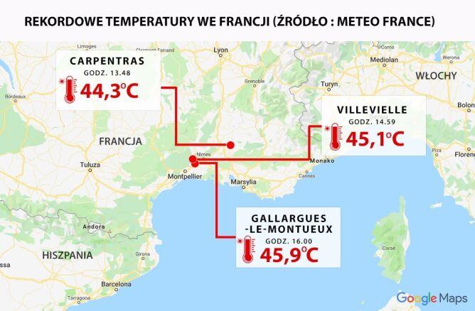 Rekordowe temperatury we Francji 28 czerwca