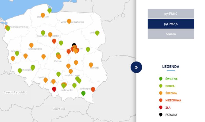 Stężenie pyłu PM2,5 o godzinie 20 (tvnmeteo.pl za GIOŚ)