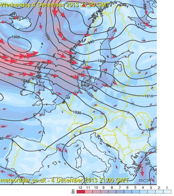 Tak orkan będzie wyglądał w środę o godz. 21.00 czasu uniwersalnego (godz. 22.00 naszego czasu) (Sat24)