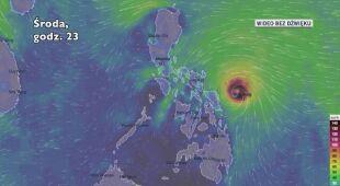 Prognozowana trasa przejścia burzy tropikalnej Vongfong (Ventusky.com)